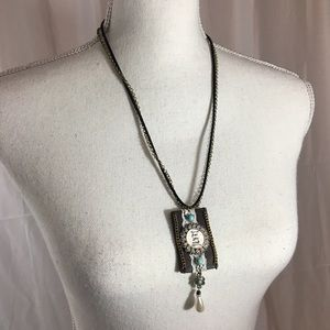 Jewelry - Leather and chain statement necklace